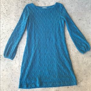 L Sandra Darren Blue 1970s Knit Mini Dress
